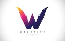W Feather Letter Logo Icon Des...