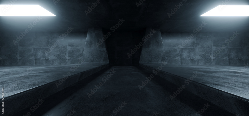 Fototapety, obrazy: Sci Fi Futuristic Background Concrete Grunge Column Pillars Dark Underground Hall Corridor Tunnel Led Lights Laser White Blue Reflection Alien 3D Rendering