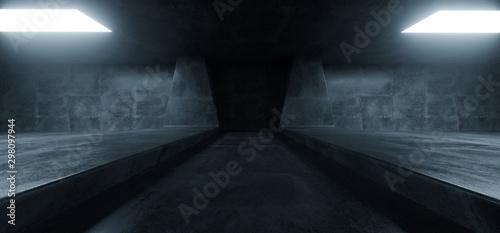 Fotografia  Sci Fi Futuristic Background Concrete Grunge Column Pillars Dark Underground Hal
