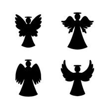 Vector Set Of Four Black Angel...