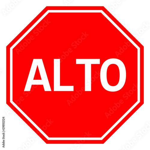 Mexican Stop sign ALTO traffic warning symbol vector Wallpaper Mural