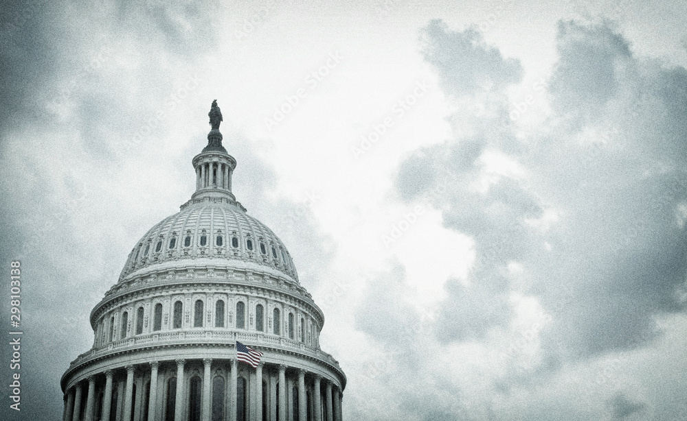 Fototapeta Textured image of the United States Capitol dome on a stormy day