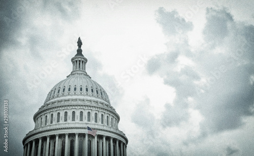 Textured image of the United States Capitol dome on a stormy day Fototapeta