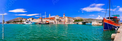 Travel and landarks of Croatia - Beautiful Trogir in Dalmatia, popular tourist attraction