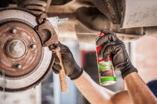 Cuadros en Lienzo Car master mechanic repairer lubricates screws with machine cleaner spray
