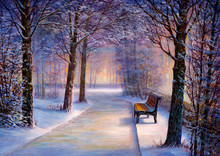 Christmas Park With A Bench. Painting.
