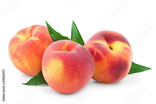 Ripe peach fruit with leaf isolated on white background - 298103971