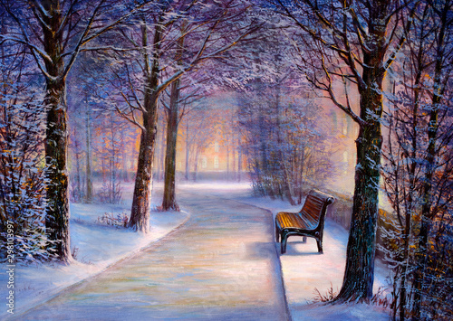 Photo sur Toile Aubergine Christmas park with a bench. Painting.
