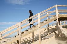 Stair Wood Dune Access Beach Woman On Wooden Staircase Of Lacanau Atlantic Ocean France