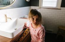 Little Girl Gets Ready In Bath...