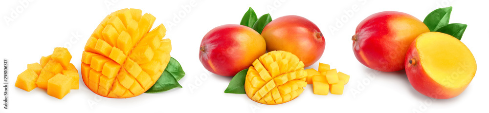 Fototapeta Mango fruit half with leaves and slices isolated on white background close-up. Set or collection