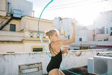 Young Gymnast Dancing With Ribbon