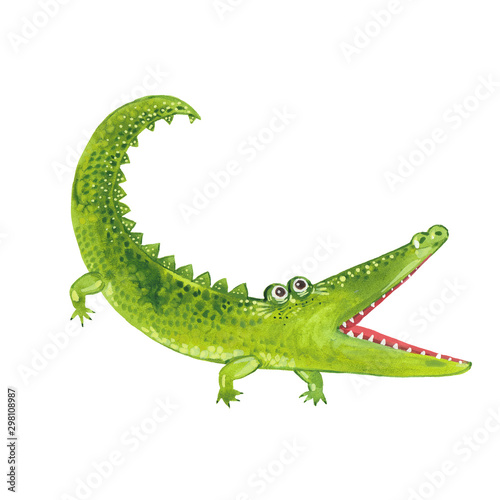 Fototapeta  watercolor toothy crocodile