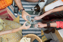 Friends Toasting From Above