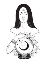 Beautiful Prophetess With Third Eye Reading Magic Crystal Ball With Crescent Moon Line Art And Dot Work. Boho Chic Tattoo, Poster, Tapestry Or Altar Veil Print Design Vector Illustration.
