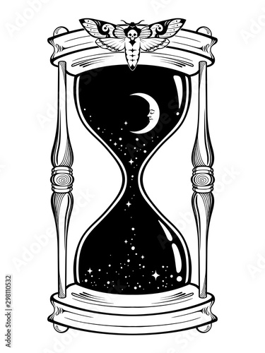 Obraz na płótnie Hand drawn line art hourglass with moon and stars isolated boho sticker, print or blackwork tattoo design vector illustration