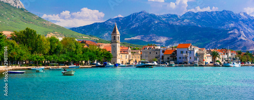 Idyllic coastal villages in Croatia. Scenic Kastella in Dalmatia. Kastel Kambelovac village