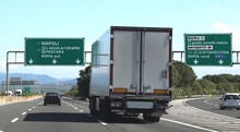 Junction Motorway With Truck A...