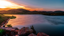 Oklahoma Landscape At Sunset.  Wichita Mountain Wildlife Preserve, Lawton, Oklahoma, United States.