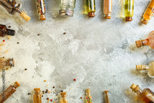 spices, many different types, textures (peas, red pepper, black pepper, turmeric, mountain salt, chia seeds, mustard and much more) menu concept Fototapeta