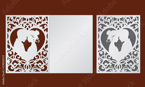 Stampa su Tela Laser cut template of wedding invitation with bride and groom in the heart frame