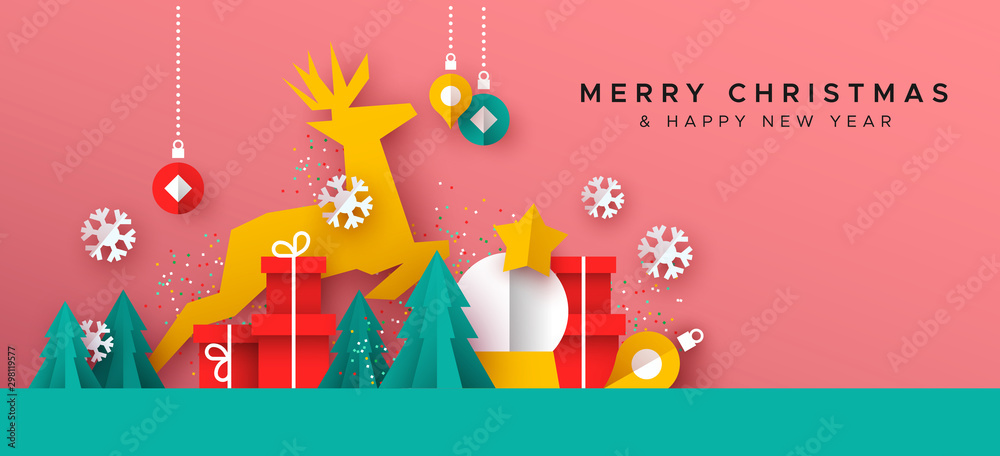Fototapety, obrazy: Christmas New Year card of paper cut toy landscape