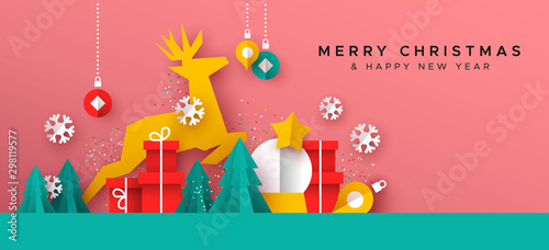 Pinturas sobre lienzo  Christmas New Year card of paper cut toy landscape