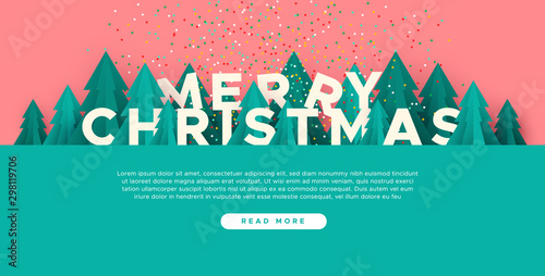 Fotografía  Merry Christmas web template paper cut pine tree