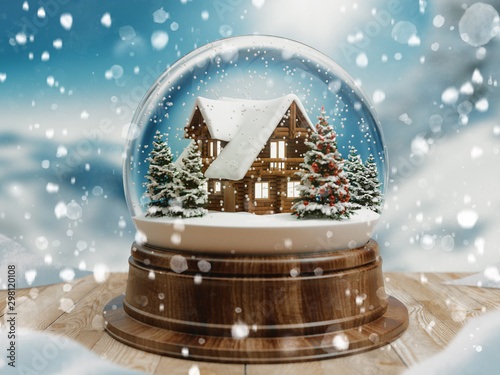 Pinturas sobre lienzo  Beautiful snow ball or snowglobe with snowfall and mountain house inside