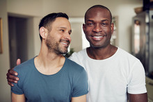 Happy Adult Gay Couple Embraci...