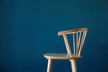 Wood Seat With Blue Background...