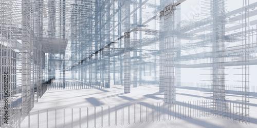 Photo 3D BIM model of reinforcement framework of the building