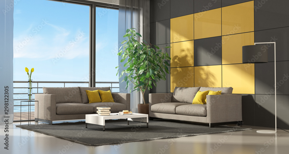 Fototapety, obrazy: Gray and yellow modern living room two couch - 3d rendering