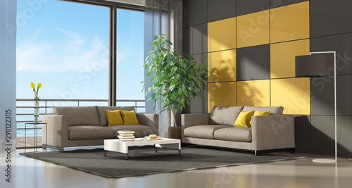 Poster Pierre, Sable Gray and yellow modern living room two couch - 3d rendering