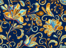 Paisley Seamless Hand Painted ...