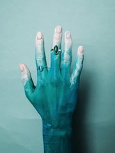 Crop Painted Hand In Silver Ri...