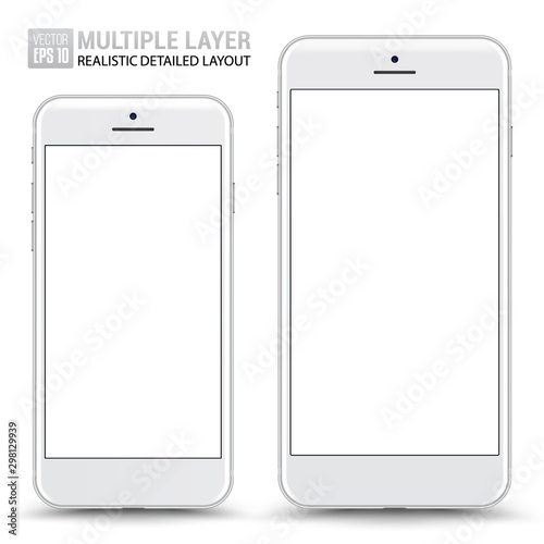 Valokuva  Realistic Scale of Big and Small Smartphone Isolated