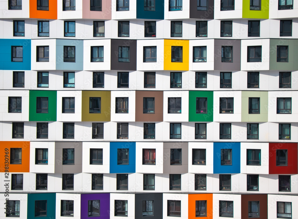 Fototapeta Colorful facade of the new building. Modern architecture, residential building