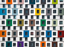 Colorful Facade Of The New Building. Modern Architecture, Residential Building
