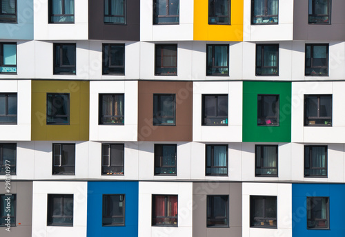 Colorful facade of the new building. Modern architecture, residential building - fototapety na wymiar