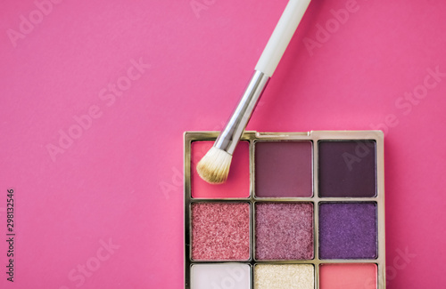 Eyeshadow palette and make-up brush on rose background, eye shadows cosmetics product for luxury beauty brand promotion and holiday fashion blog design - 298132546