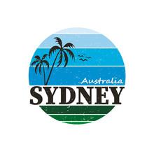 Sydney City Travel Destination. Vector Shirt Logo