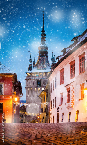 winter in Sighisoara - holiday destination, Romania Tablou Canvas