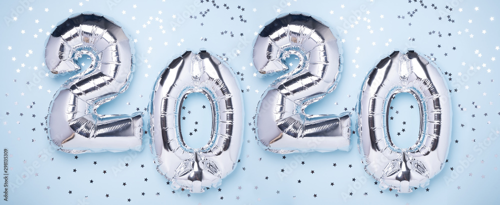 Fototapety, obrazy: Silver balloons in the form of numbers 2020 and confetti on blue background. New year celebration. Happy New Year concepts - Image