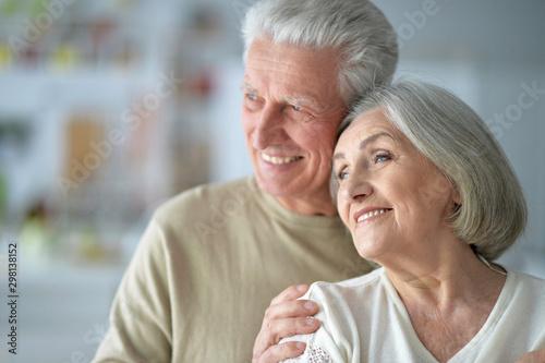 Carta da parati  Close up portrait of happy senior couple posing