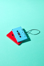 Red And Blue Retro Cassette Ta...