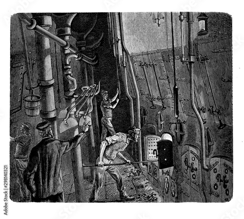 Obraz na plátně Sailors working in the ship boiler room: the boiling water produces steam transmitted to the engine room to power the vessel