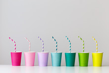 Row Of Colorful Paper Cups
