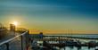 Sassnitz - miasto, kurort i port nad morzem bałtyckim na wyspie rugia widok na port o wschodzie słońca