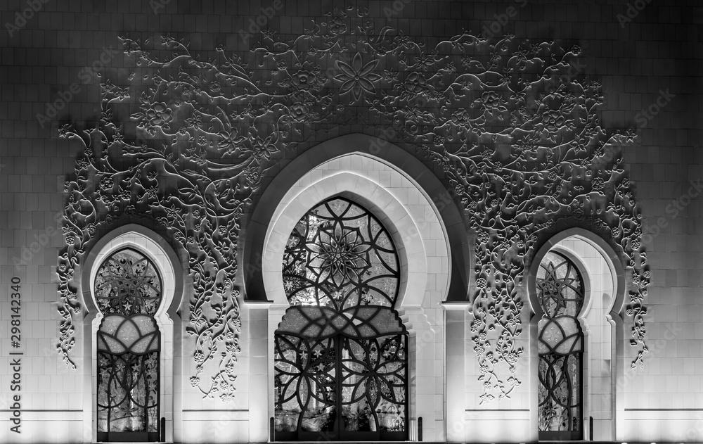 Fototapety, obrazy: Sheikh Zayed Grand Mosque and Reflection in Fountain at Sunset - Abu Dhabi, United Arab Emirates (UAE)